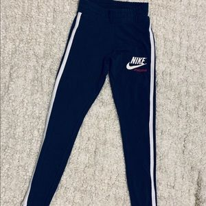 Nike Navy Blue Leggings w/ White Trim